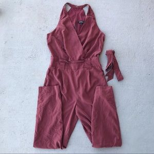Express Belted Surplice Jumpsuit Pink